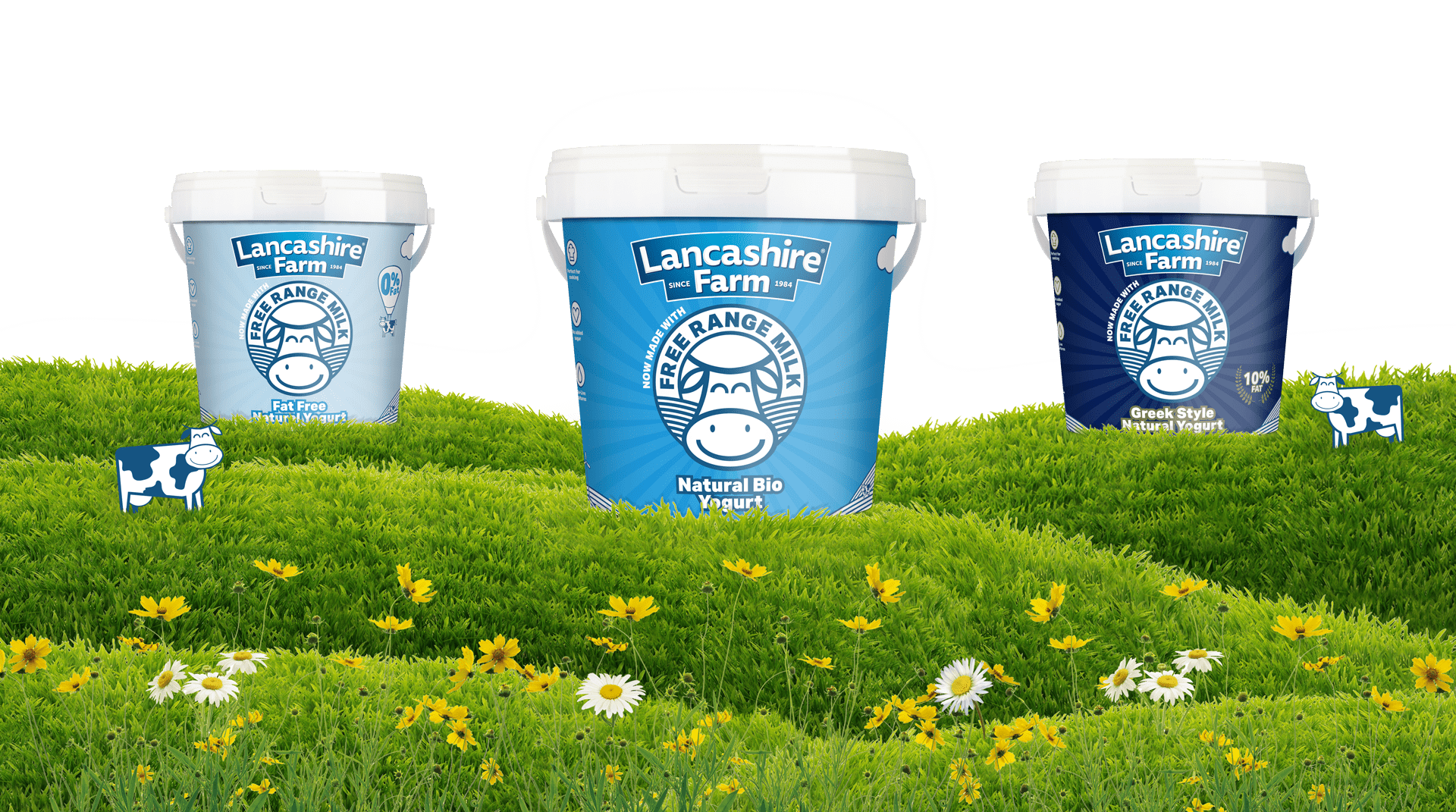 Here we have the Lancashire Farm Natural Bio, Fat Free and Greek style kilo yogurt pots sitting on top of the rolling hills of Lancashire.